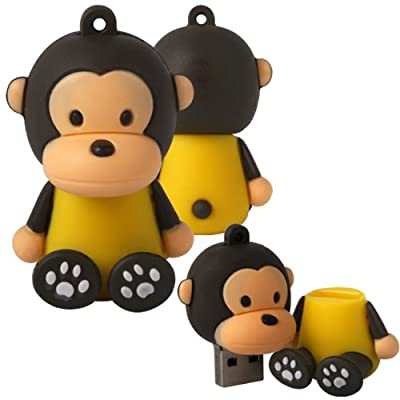 Shop4 8GB Brown / Yellow Cartoon Monkey Shape Novelty USB Data Memory Stick Storage Device with Key Chain by Shop4accessories