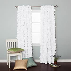 White Cotton Small Waterfall Ruffle Blackout Curtain Collection 84 L 1 Pair Boc