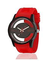 Yepme Men's Transparent Analog Watch - Black/Red