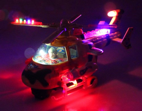 Turbo Hero Gunship Battery Operated Bump and Go Toy Helicopter w/ Awesome Flashing Lights, Sounds, Will Change Direction on Contact (Colors May Vary)