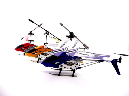 GIFT SET OF 3 Genuine Syma 3 Channel S107G Mini Indoor Co-axial Metal Body Frame & Built-in Gyroscope Rc Remote Controlled Helicopter (1) Yellow (1) Blue (1) Red