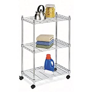 rolling kitchen cart with flat shelves