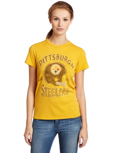 NFL Women's Pittsburgh Steelers Heather Vintage Short Sleeve Crew (Mustard, Large)