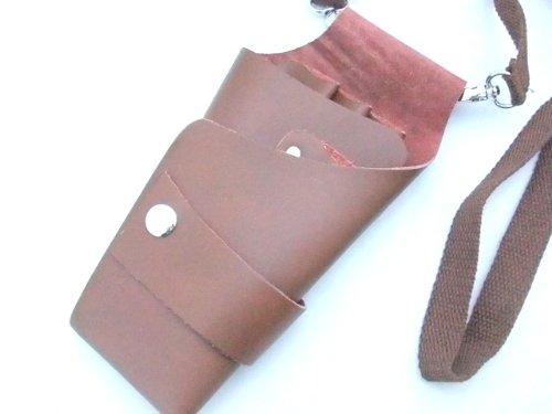 シザーケース 本革 レザー 4本用 茶色 専用ベルト付属 美容師 トリマー 用