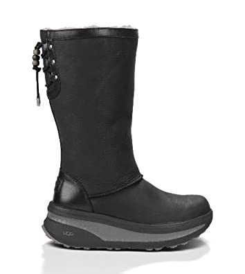 Amazon.com: UGG Australia Klarissa Black Leather Boot 5 M US: Shoes