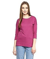 Hypernation Wine Color Round Neck Cotton T-shirt