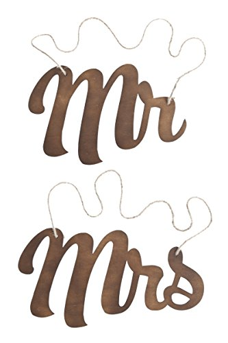 Ling's moment Wooden Mr and Mrs Wedding Chair Signs, Vintage Dark Walnut