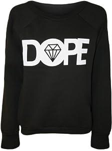 Papermoon - Pull simple avec le mot 'DOPE' et l'image du diamant - Pulls - Femmes - Noir - 36-38