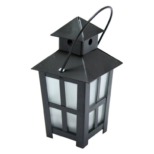 """Gerson 3922803 - 3"""" X 5.5"""" Cross Bars Black Metal Mini Lantern With Color Changing & Amber Led Tealight Candle Light With Timer"""