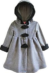 Good Lad Baby Girls\' Fur Trimmed Polar Fleece Coat with Hood, Grey, 12 Months