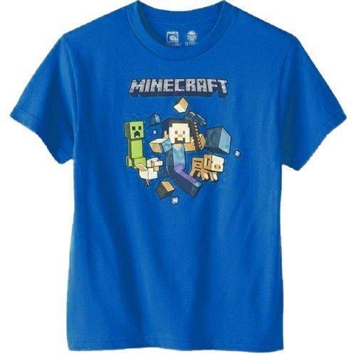 Minecraft-T-Shirt-Run-Away-con-Steve-para-nios-Por-Mojang-Fashion-UKdiseado-por-Jinx-100-algodn-Nuevo-con-etiquetas-azul-azul-6-7-aos