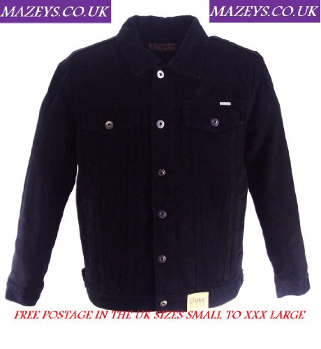 Retro Mod Biker Mens Black Denim Jacket`s Medium