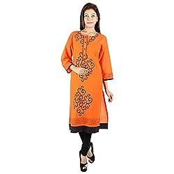 Kaash Women's Straight Kurta_VRIDAORG04_XXL_Orange