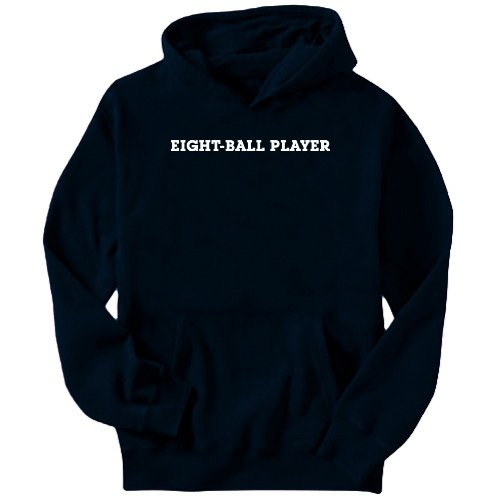 Eight-Ball Player Simple / Basic Sports Mens Hoodie (Navy Blue, Size Large)