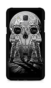 Amez designer printed 3d premium high quality back case cover for Samsung Galaxy J7 (Astronauts Merge Skull Optical Illusion)