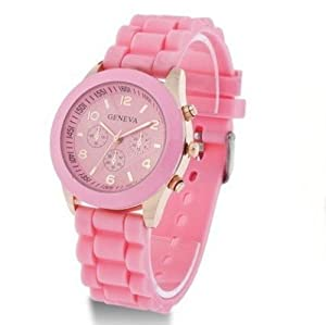 2013 Geneva Popular Silicone Quartz Men/women/girl Unisex Jelly Wrist Watch dark pink By SH