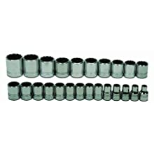 JH Williams MSS-24RC 24-Piece 1/2-Inch Drive Metric Shallow 12 Point Socket Set