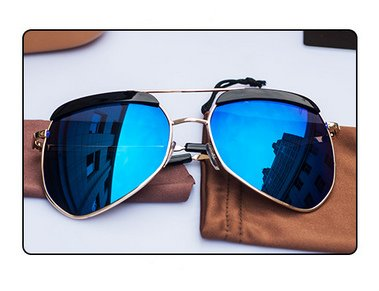17a6f4a0754 Gold-framed Blue Film Gray Ant Men and Women Fashion Sunglasses Large Frame  Sunglasses Driving Mirror Tide Metal Glasses. by mei kaidi