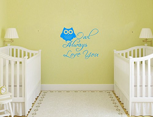 Owl Always Love You Wall Art Quote For Nursery Kid'S Room Owl Decor Decal Vinyl Letters Multiple-Color Available Baby Boys Girl'S Wall Saying Decor Mural (Blue) front-101926