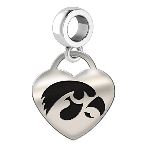 Iowa Hawkeyes Heart Heart Dangle Charm Fits All European Style Bead Charm Bracelets