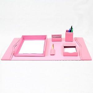 Bonded leather desk set 6 piece pink - Pink desk organizer ...