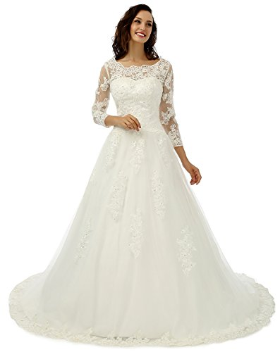 086c1c58ffd EternalMoment Women s Long Sleeve A-line Lace Wedding Dresses Brides Ivory  16
