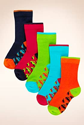 5 Pairs Of Younger Boys' Cotton Rich Transport Sole Socks