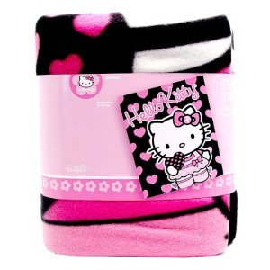 Sanrio Hello Kitty Black Blanket with Pink Hearts