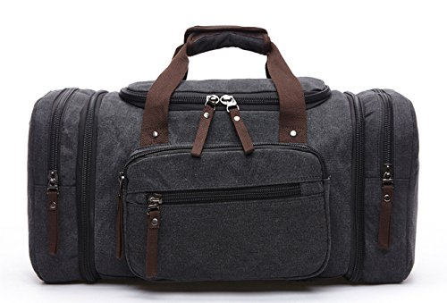 Large Capacity Canvas Unisex Travel Duffel Bag Shoulder Handbag Weekend Bag w/ Strap