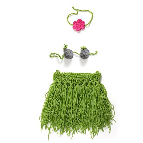 Elee 3 Piece Baby Girls Handmade Crochet Knit Hula Costume Set Photography Props
