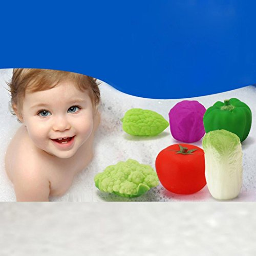 Baby Wash Bath Play Toys, Franterd 6Pcs Toddler Soft Rubber Float Sound Vegetables Toys (Baby Food Sqeeze compare prices)