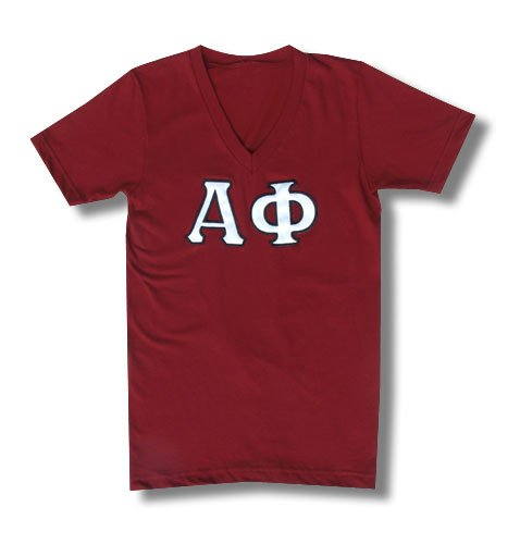 This Alpha Phi shirt is on the American Apparel summer unisex v-neck tee