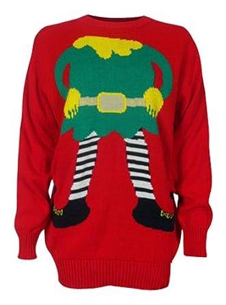 Womens penguin elf print knitted christmas jumper m uk 10 elf