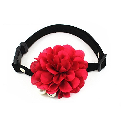 "PETFAVORITESâ""¢ Designer Wedding Flower Suede Leather Pet Cat Dog Bow Tie Collar Necklace Jewelry with Bell Charm for Pets Cats Medium or Large Dogs Female Puppy Yorkie Girl (Red, Size: 10"