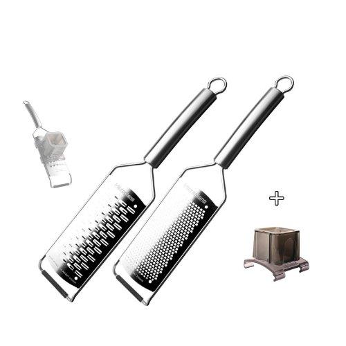 Microplane Reiben - Professional Serie 38000 - Reibenset ganz aus Edelstahl + Fingerschutz 3 tlg. - fein + mittl. Schneide - 38000+set3