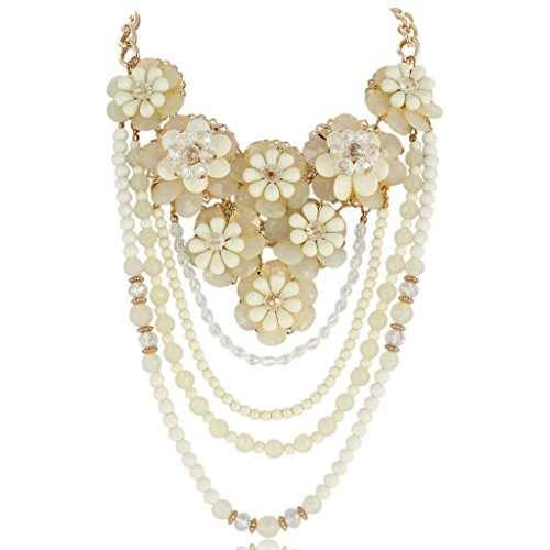 Cluster Flower Teardrop Crystal Bead Strand Necklace Gold-Tone - Clear N03549-1