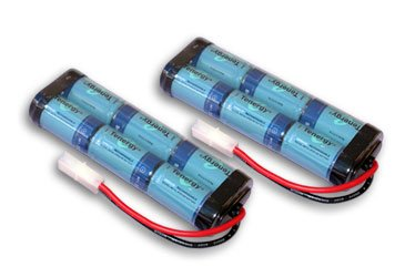 Two Tenergy 7.2V 3800mAh Flat NiMH High Power (38A Drain Rate) Battery Packs for RC Cars and Sumo Robots