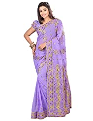 Designer Elite Light Purple Colored Embroidered Faux Georgette Saree By Triveni