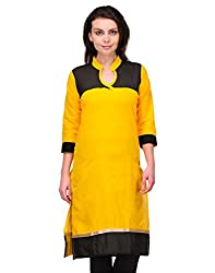 Awesome Fab Yellow Color Cotton Fabric Women's Straight Kurti