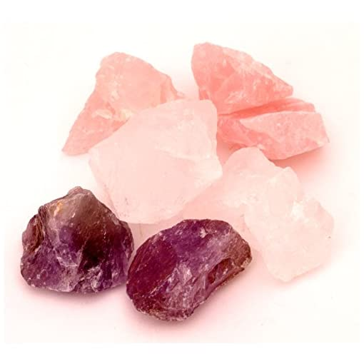 Edelstein-Wasser-Basis-Set-Rosenquarz-Bergkristall-Amethyst