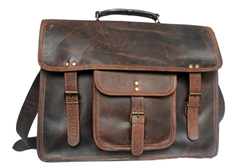 Retro Style Genuine Leather Laptop Messenger Bag gift for men women him her