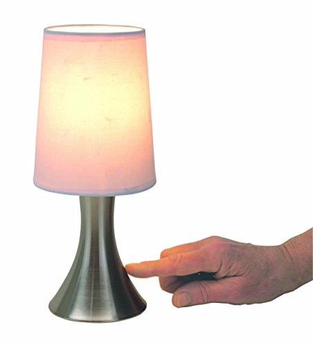 Tischlampe-mit-Dimmer-mit-Touch-me-Funktion-3-Stufen-mit-Edelstahlfuss-mit-weissem-Lampenschirm
