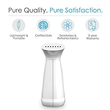 PureSteam Deluxe Handheld Garment Steamer – Powerful Portable Fabric Steamer Dewrinkles Clothing, Linens, & Curtains – 160ml Tank for 10 Minutes of Continuous Steam – Ideal for Home & Travel