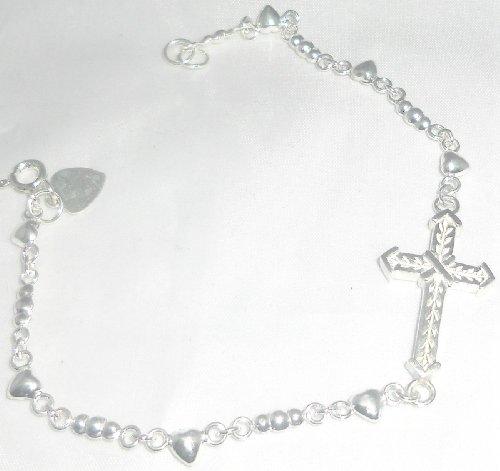 Sideways Cross Sterling Silver w/ Heart Shape Chain Bracelet