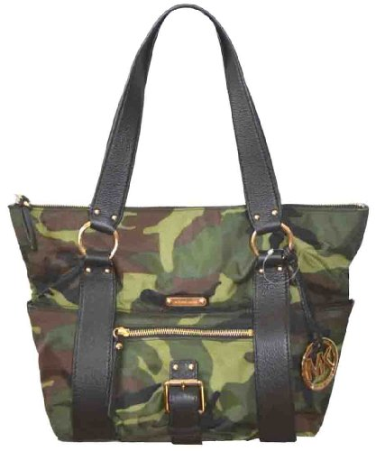 Michael Kors Austin Md Top Zip Nylon Tote Handbag Purse Camo 38T1CANT2B