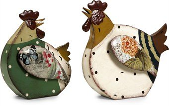 Imax Rosalea Roosters Décor, Set Of 2