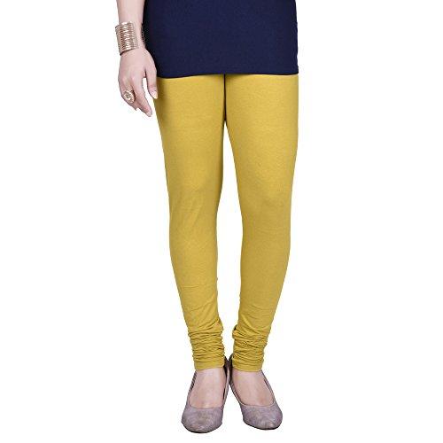 Deepee Twister Women's Cotton Light Mustard Free Size Churidar Leggings