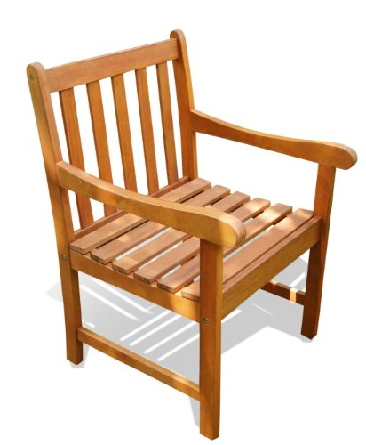 VIFAH V415 Outdoor Wood Arm Chair, Natural Wood Finish, 22 by 25 by 35-Inch picture