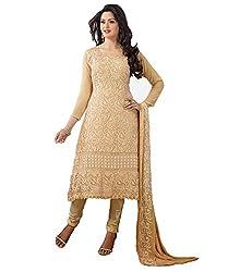 Fstore Cream Karachi work semi stitched salwar suit dress material