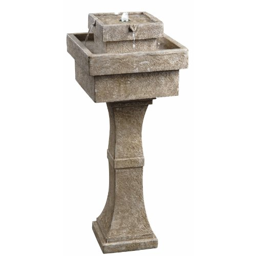 InterDesign Kenroy Home 50029SS Cadet Outdoor Solar Floor Fountain in Sandstone Finish